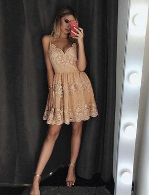 Trendy Lace A-Line Spaghetti Straps Appliques Mini length Prom Dress UK UK_3
