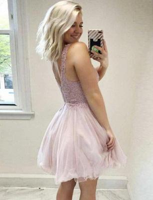 Trendy A-Line Appliques Sleeveless V-Neck Mini length Homecoming Dress UK_3