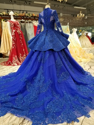 Long Sleeves Ball Gown Applique Tulle Beads Court Train Prom Dress UK UK_4