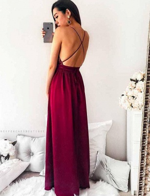 Elegant A-Line Spaghetti Straps V-Neck Sequins Burgundy Prom Dress UK UK_3