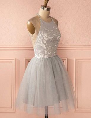 Gorgeous Halter Tulle A-Line Appliques Open Back Homecoming Dress UK_4