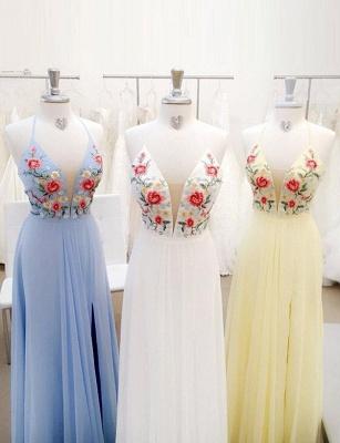 Fabulous Lace A-Line Embroidery Spaghetti Straps Long Prom Dress UK UK_1