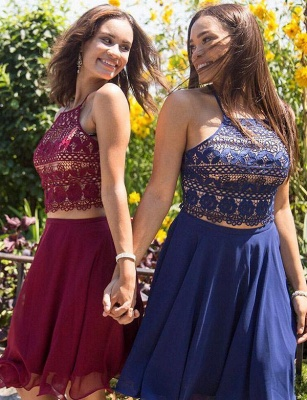 Crop top Spaghetti Straps A-Line Lace Lace-up Short Prom Homecoming Dress UK_3