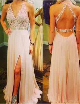 Fabulous Lace Long A-Line Split Front V-Neck Appliques Sleeveless Prom Dress UK UK_3