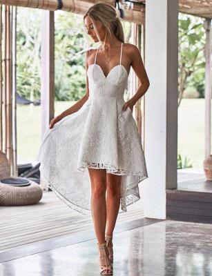 Luxury A-Line Spaghetti Straps Appliques Lace asymmetric Prom Dress UK UK_1