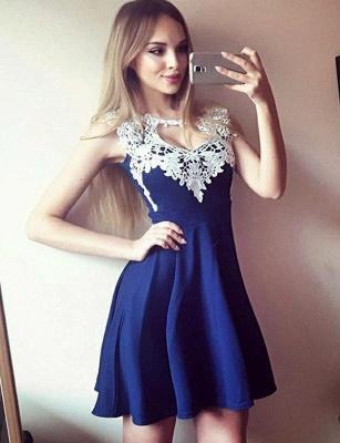 Glamourous Jewel A-Line Appliques Sleeveless Short Prom Homecoming Dress UK_1