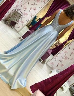 Luxury Flowy Chiffon A-Line Beading V-Neck Sleeveless Long Prom Dress UK UK_3