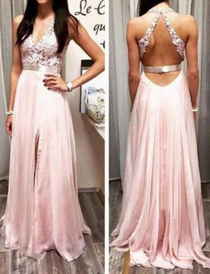 Fabulous Lace Long A-Line Split Front V-Neck Appliques Sleeveless Prom Dress UK UK_1