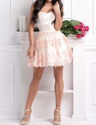 Sexy Appliques A-Line Lace Cute Sweetheart Mini length Homecoming Dress UK_3