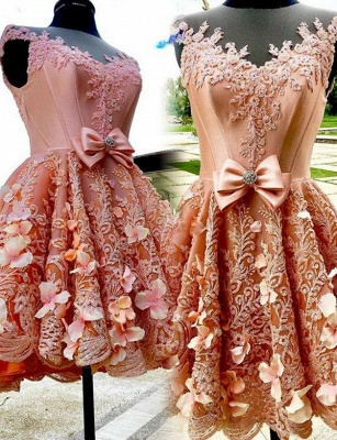 New Arrival A-Line Appliques Jewel Bow Sleeveless Mini length Homecoming Dress UK_1