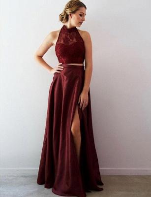 Crop Top Lace A-Line Split Front Long Halter Prom Dress UK UK_1
