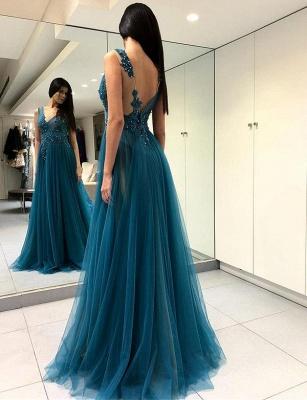 Charming V-Neck Split Front A-Line Appliques Blue Tulle Prom Dress UK UK_1