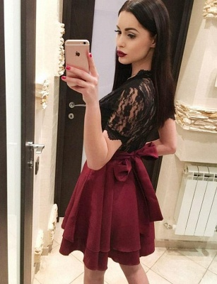 Hot A-Line Lace V-Neck Bow Short Sleeves Homecoming Dress UK_4