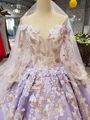 Ball Gown Spaghetti Straps Long Sleeves Court Train Applique Prom Dress UK UK_7