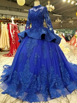 Long Sleeves Ball Gown Applique Tulle Beads Court Train Prom Dress UK UK_3