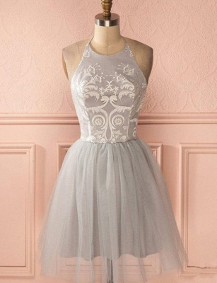 Gorgeous Halter Tulle A-Line Appliques Open Back Homecoming Dress UK_1