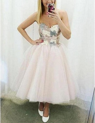 Trendy Tulle A-Line Appliques Cute Sweetheart Short Prom Homecoming Dress UK_1