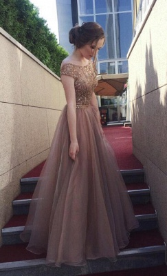 Chocolate Crystals A-Line Tulle Sweep Train Prom Dress UK_3