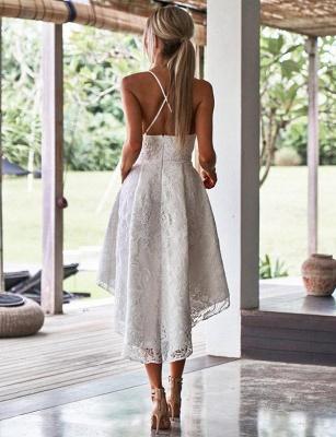 Luxury A-Line Spaghetti Straps Appliques Lace asymmetric Prom Dress UK UK_3