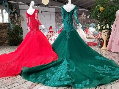 Mermaid Beads Chapel Train Long Sleeves Tulle Applique Prom Dress UK UK_3