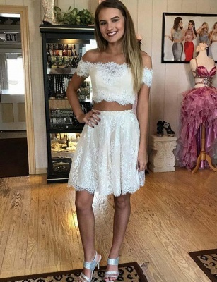 Stunning Two Piece Lace A-Line Off-the-Shoulder Mini Prom Dress UK UK_1