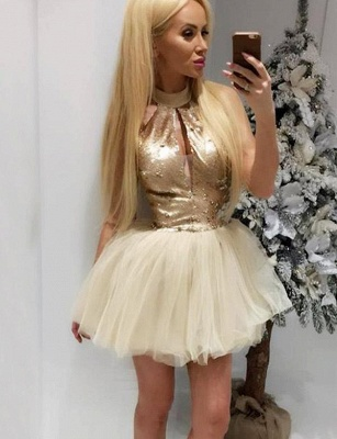 Different High Neck A-Line Sequins Sleeveless Tulle Short Prom Homecoming Dress UK_1