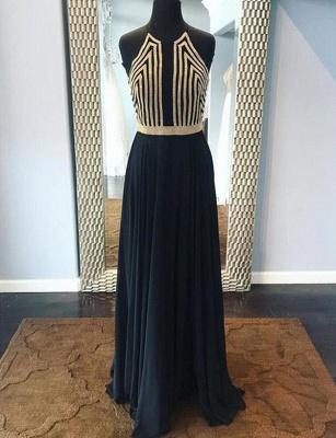 Modern Sequins A-Line Sleeveless Halter Long Prom Dress UK UK_1