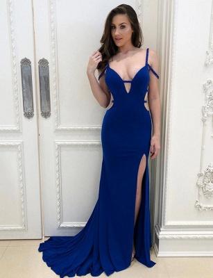 Elegant trumpt Royal Blue Straps Split Front Long Evening Dress UK_1