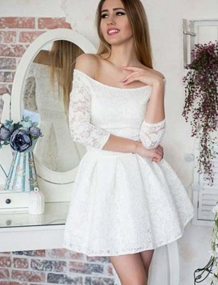 Gorgeous Long Sleeves A-Line Lace Off-the-Shoulder Mini Prom Dress UK UK_1