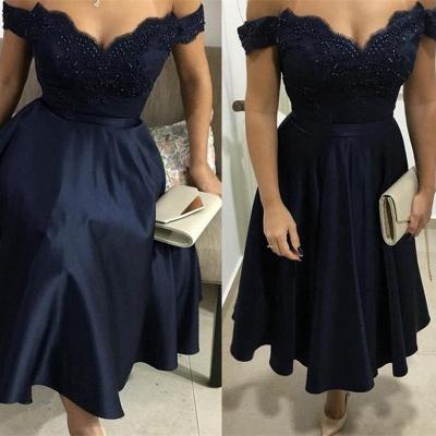 Trendy Beads A-Line Appliques Off-the-Shoulder Tea-Length Homecoming Dress UK_2