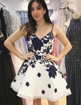 Stunning A-Line Floral Print Spaghetti Straps Mini length Homecoming Dress UK_1