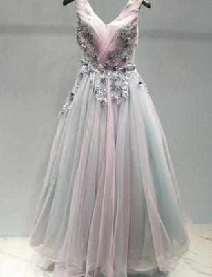 Amazing A-Line Appliques Spaghetti Straps Tulle Long Prom Dress UK UK_1