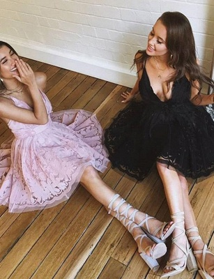 Glamourous Sleeveless A-Line Lace V-Neck Mini length Homecoming Dress UK_3