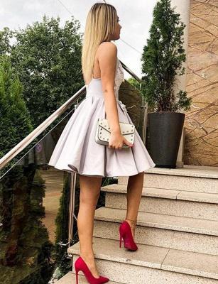 Sexy Mini length A-Line Appliques Spaghetti Straps Homecoming Dress UK_4