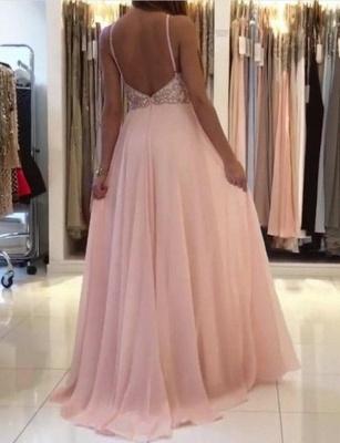 Modern A-Line Spaghetti Straps Beading Pink Long Prom Dress UK UK_4