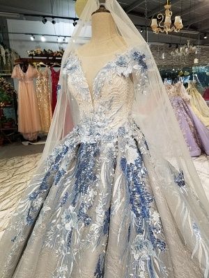 Round Neck Organza Applique Ball Gown Short Sleeves Prom Dress UK UK_6