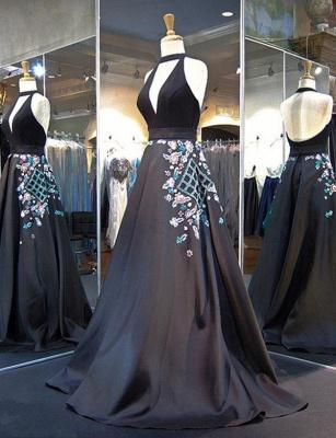 Gorgeous A-Line Appliques Halter V-Neck Long Evening Dress UK_3