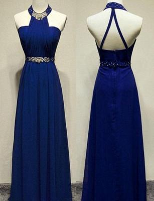 Modern Beading A-Line Sleeveless Long Jewel Prom Dress UK UK_1