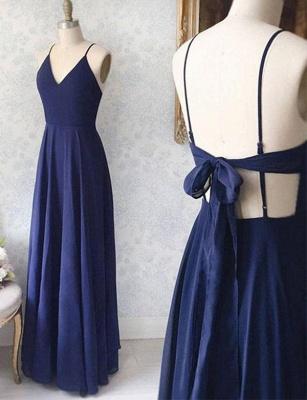 V-Neck Navy Blue Sexy Spaghetti Straps A-Line Long Prom Dress UK UK with Bowknot_1
