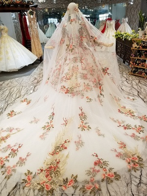High Neck Chapel Train Applique Long Sleeves Ball Gown Prom Dress UK UK_3
