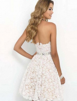 Stunning Cute Sweetheart A-Line Lace Flower Short Prom Homecoming Dress UK_3