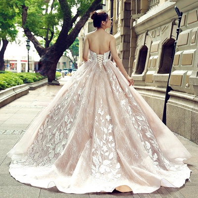 Applique Organza Strapless Ball Gown Sweep Train Prom Dress UK UK_3