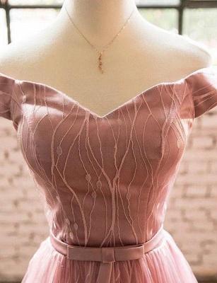 Trendy Short Sleeves A-Line Off-the-Shoulder Tea-Length Homecoming Dress UK_4