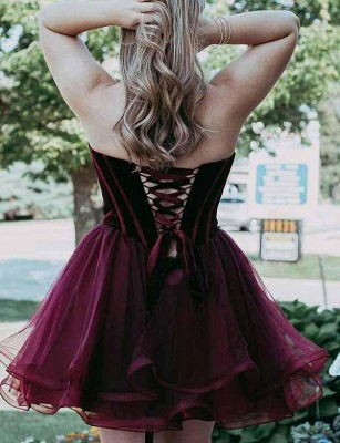Different A-Line Cute Sweetheart Lace-up Tulle Mini length Prom Dress UK UK_3