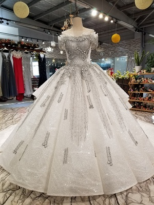 Organza Applique Ball Gown Chapel Train Short Sleeves Prom Dress UK UK_3