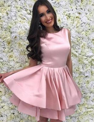 Trendy Sleeveless A-Line Straps Bateau Mini length Homecoming Dress UK_1