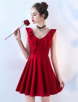 Unique Sleeveless A-Line Straps V-Neck Short Prom Homecoming Dress UK_4