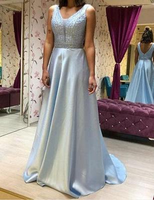 Luxury Flowy Chiffon A-Line Beading V-Neck Sleeveless Long Prom Dress UK UK_1