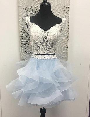 Crop top Sleeveless A-Line Appliques V-Neck Organza Short Prom Homecoming Dress UK_1