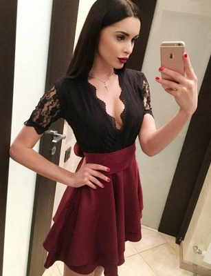 Hot A-Line Lace V-Neck Bow Short Sleeves Homecoming Dress UK_3